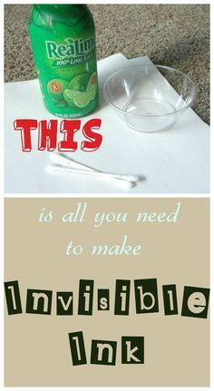 Lime Juice Invisible ink - Saturday Science Blog Hop {P is for Preschooler}