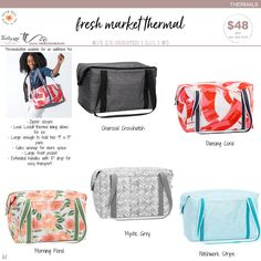 Available March 1st – August 31st, while supplies last. Trina Lovegren, Thirty-One Consultant www.trinalovegren.com Thirty One Party, Thirty One Gifts, Thirty One Uses, Thirty One Consultant, Fresh Market, March 1st, New Journey, New Bag, New Print