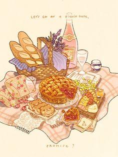 Cute Food Drawings, Cute Kawaii Drawings, Kawaii Art, Cute Food Art, Cute Art, Aesthetic Food, Aesthetic Anime, Food Sketch, Picnic Date