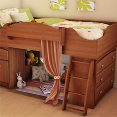 Kids Bedroom:Cool Bedroom Design With Wooden Kids Beds With Wooden Stairs With Storage Also Mini Curtains For Small Space Under Beds Also White Stuffed Rabbit With White Wall As Wella As Laminate Floor 100 Ideas of Fashionable and Attractive Kids Beds to Inspire Your Kids Rooms