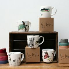 English fine bone china from Stoke on Trent leading pottery manufacturers Hudson and Middleton Anna Wright, Stoke On Trent, Mixed Media Collage, The Great Outdoors, Wildlife, Textiles, Pottery, Illustration, Artist