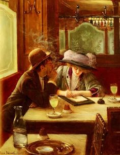 Jean Béraud, La Lettre, 1908. Jean Béraud(Jan 12, 1849–Oct 4, 1935), French painter, noted for his paintings of Parisian life during the Belle Époque (1871-1914).