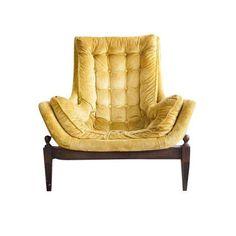Image of Mid-Century Yellow Velvet Tufted Bucket Chair Chairish