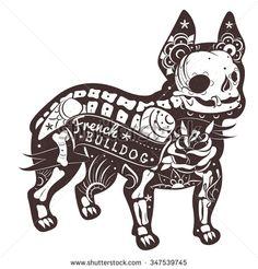 Stylized skeleton French Bulldog. Vector French Bulldog. Vector illustration - stock vector