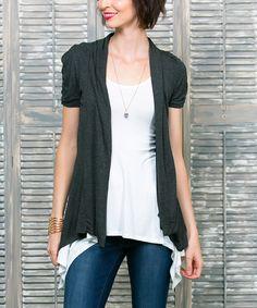 Charcoal Kori Short-Sleeve Open Cardigan - Women