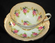 STANLEY ENGLAND ROYAL PINK ROSE PEACH WIDE TEA CUP AND SAUCER