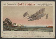 New York City: c.1905 Menu Postcard CAFE MARTIN WRIGHT BROTHERS AIRPLANE Rare