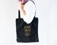 Fuck Yeah Art Hand-painted Black Tote Bag with Zipper and Phone Pocket