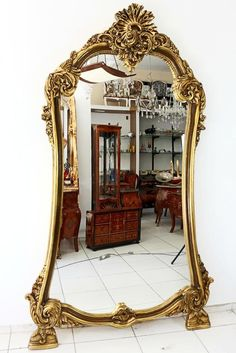 (1) Espelho Gigante Em Moldura Classica Toda Entalhada À Mão - R$ 5.900,00 no MercadoLivre