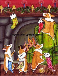 "PEMBROKE WELSH CORGI ART PRINT CHRISTMAS SANTA WISHES 5"" X 7"" VALERIE BROCK"