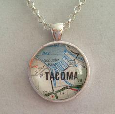 Tacoma WA City Map Pendant Necklace