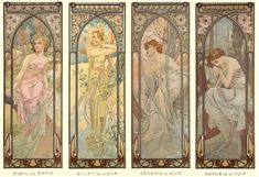 ALPHONSE MUCHA The Times of the Day (series) (1899) MOrNING AWAKENING>BRIGHTNESS OF DAY>EVENING CONTEMPLATION>NIGHTS REST In this series, Mucha combined fresh yet delicate colours with exuberant floral motifs.  Each woman is set within natural surroundings which reflects her mood. The whole is then enclosed in an elaborate ornamental frame reminiscent of a Gothic window.