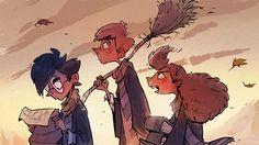 Harry Potter, Ron Weasley & Hermione Granger | art by John Loren