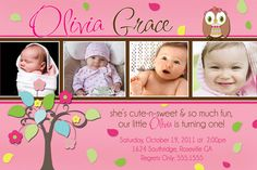 Owl first birthday invitations .95 cents each