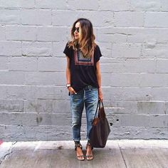 Boho top and slouchy jeans. Perfect casual everyday outfit idea.