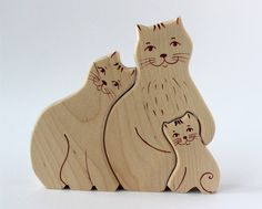 Wooden Puzzle Cat Family Toy Eco Friendly Natural Child Educational Game | eBay