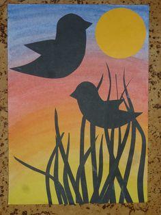 Barevné pozadí, nalepení ptáčci, tráva a měsíc - zvládnou druháci