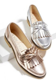 Metallic fringe & bow loafers in rose gold and silver | Sole Society Huxley