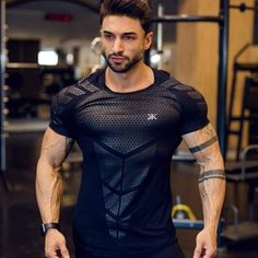 Mens Compression T-shirt Jogger Sporting Skinny Tee Shirt Male Gyms Fitness Bodybuilding Workout Black Tops Quick dry Clothing - To buy again Bodybuilding T Shirts, Fitness Bodybuilding, Bodybuilding Training, Fitness Man, Sport Fitness, Health Fitness, Summer Fitness, Fitness Equipment, Muscle Fitness