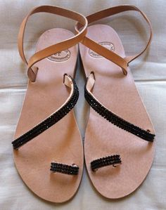 Items similar to Handmade Genuine Leather Ladies Sandals on Etsy Metal Stars, Leather Sandals, Flip Flops, Ladies Sandals, Trending Outfits, Unique Jewelry, Handmade Gifts, Greek, Stones