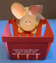Add a cute punch art bunny to the new Berry Basket from the Stampin' Up! 2015 Occasions Catalogue.  http://tracyelsom.stampinup.net