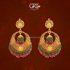 Gold Chanbdali Earrings from GRT Jewellers, Gold Antique Earrings from GRT, Gold Earrings from GRT Gold Jhumka Earrings, Indian Jewelry Earrings, Gold Earrings Designs, Antique Earrings, Clay Earrings, Antique Jewelry, 1 Gram Gold Jewellery, Gold Jewellery Design, Gold Jewelry