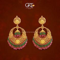 Gold Chanbdali Earrings from GRT Jewellers, Gold Antique Earrings from GRT, Gold Earrings from GRT 2017.