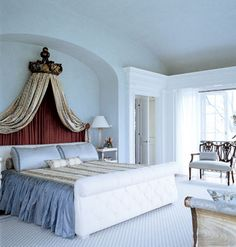 Fabric drape headboard.  I want to do this in blues and greens.Guess I need to find a support for it.