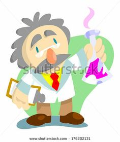 Scientist with clipboard and erlenmeyer flask cooking up some crazy concoction by AtomicBHB, via Shutterstock