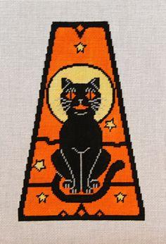 Vintage Halloween Panel-Black Cat 18 mesh 5x8 in.  Reg. $81, Trunk Show $64.80