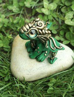 Green baby Dragon - Tiny Dragon Sculpture, Cute Dragon figurine, Ooak dragon, dragon baby, polymer clay dragon, totem animal, by Gloriosa Art