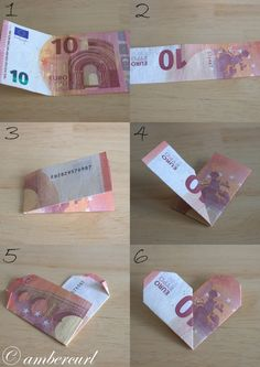 "Geldgeschenk für liebe Menschen Instructions for a heart from a banknote. Related posts: Money Gift élégant et chic Legend Wedding Gift Money – Idea Money Gift To The Wedding Gifts Gifts Ideas – Katrin Bott Small farewell gift for all who are ""Fantastic"" Diy Birthday, Birthday Gifts, Don D'argent, Wrapping Ideas, Gift Wrapping, Creative Money Gifts, Gift Money, Folding Money, Diy And Crafts"