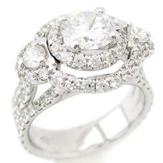 Round Cut Triple Shank Double Halo Diamond Engagement Ring AR127