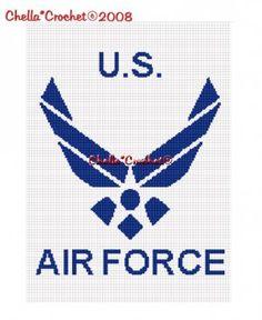 military afghan crochet pattern | Chella*Crochet US Air Force Military Afghan Crochet Pattern Graph .PDF ...