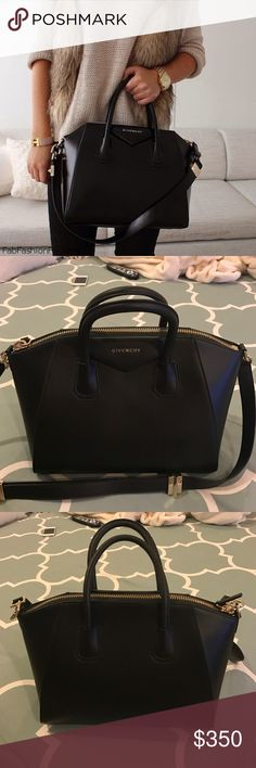 "Black Antigona Bag New! Smooth black leather. Medium size. Structured base. Approx 11""h x 13""w x 7.5""d. Givenchy Bags Satchels"