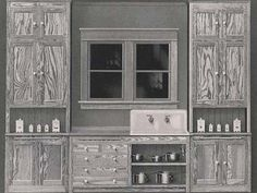 Unpainted Historical Kitchens: Not all 1900-1920's kitchens were painted. Although less common, some kitchen cupboards were natural wood.