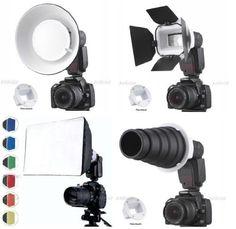 Flash Gun Strobies Flex Mount Modifier, Adapter Kit with Softbox, Diffuser, Beauty Dish Reflector, Snoot, Honeycomb, Barndoor for Sony F32X, HVL-F42AM; Canon 420ex; 430ex; 430EX II, 540ez; Vivitar DF400MZ; Sunpak 5000AF, 4000AF, PZ5000, DF200, 888F2, Leica SF58, Jessops 360AFD by FCStudio, http://www.amazon.com/dp/B003ENAY4C/ref=cm_sw_r_pi_dp_OgPnsb1G90VPH