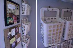 Use trash baskets from Ikea (CAN$ 5.99 each) on towel hooks to organize papers. Easily pull the basket off the wall when ...