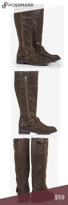 🎉Host Pick!🎉Express distressed brown suede boots 🎉Host Pick🎉 (Sweater Weather Party, 11/29/17) BRAND NEW WITHOUT TAGS!  Express distressed brown suede riding boots with buckle detail at the calf and outer ankle. Inner side zipper close. Awesome distressed look and low heels offer a causal and comfortable style. Worn only to try on. Size 8. Express Shoes Heeled Boots