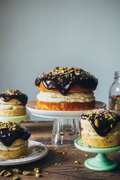 A pistachio cream cake with chocolate ganache is three kinds of delicious.
