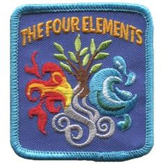 The Four Elements (Iron On) Embroidered Patch by E-Patches & Crests Cool Patches, Iron On Patches, Wiccan, Witchcraft, Pagan, Girl Scout Patches, Girl Scout Camping, Scout Badges, Fabric Patch