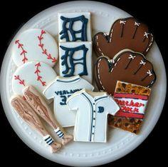 Detroit Tigers Baseball themed Decorated Cookies- bats, balls, gloves, jerseys, logo and cracker jacks