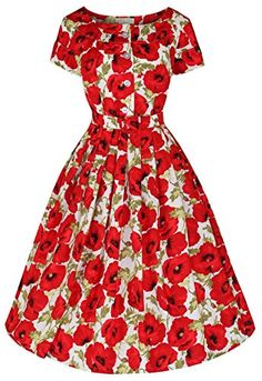 Isabelle - Poppies. Womans vintage 1950's style dress. Sizes 8-20. zoevine.com