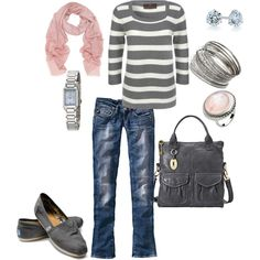 grey striped top + light pink scarf + jeans + grey bag + silver accessories + grey Toms  ***missing grey Toms