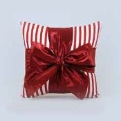 Woof n Poof Christmas Pillows, Package Pillow, Med. Red Stripe