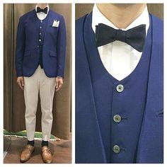 リゾートウェディング,新郎カジュアルセットアップスタイル。  ブルージャケットにホワイトデニムでカジュアルに。  #新郎衣装 #タキシード #蝶ネクタイ  http://lifestyleorder.com/mens/wedding