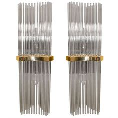 Pair of Wall Sconces by Gaetano Sciolari with Smoke Tinted Crystal Rods | 1stdibs.com