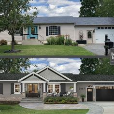 Timeless Traditional Ranch Exterior, Modern Farmhouse Exterior, House Paint Exterior, Exterior Remodel, Exterior House Colors, Exterior Design, Ranch House Remodel, House Makeovers, Home Exterior Makeover