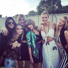 Support team: Kendall Jenner, Cara Delevingne, Martha Hunt, Karlie Kloss and Gigi Hadid ch...