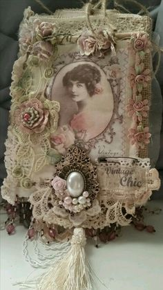 entries from Terry -June kit Shabby Chic Fabric, Shabby Chic Crafts, Vintage Crafts, Vintage Shabby Chic, Fabric Art, Fabric Books, Collage Book, Fabric Postcards, Creation Deco